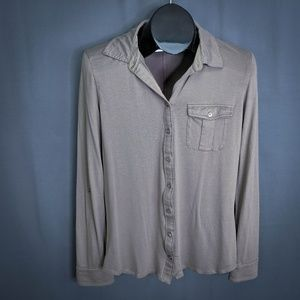 Ann Taylor Top Shirt SIze Small Taupe Womens Knit